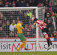 Sheffield - Saturday January 9th, 2009: Darius Henderson of Sheffield United scores the opening goal during the Coca Cola Championship match at Bramall Lane, Sheffield. (Pic by Alex Broadway/Focus Images)