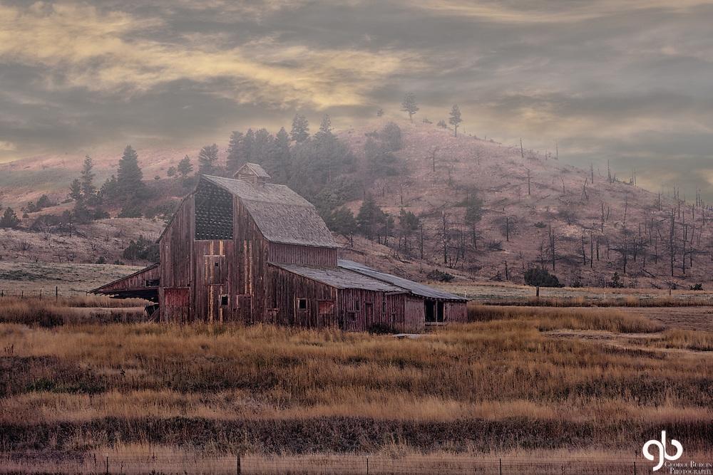 Barn near Big Timber - smoky Montana morning.