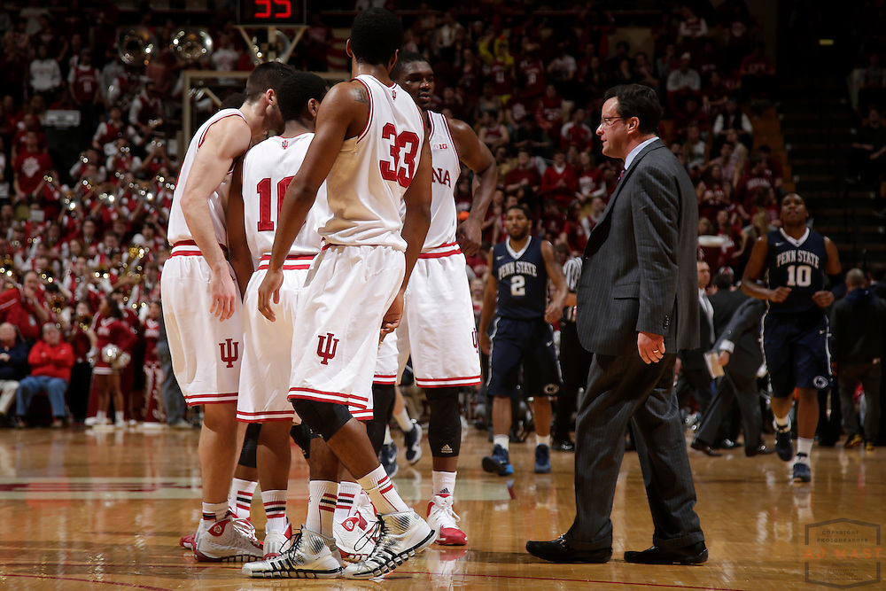 12 February 2014: Indiana head coach Tom Crean as the Indiana Hoosiers played Penn State in a college basketball game in Bloomington, Ind.