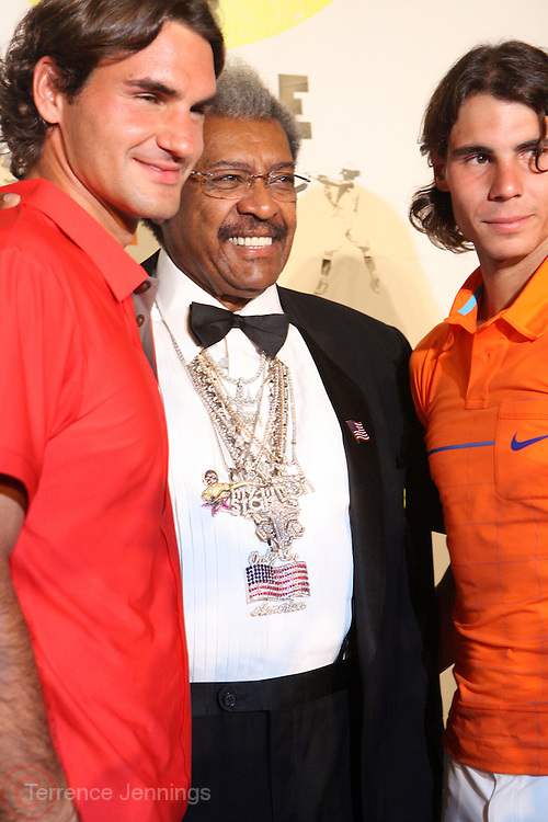 l to r: Roger Federer, Don King, and Raphael Nadal at the Don King and Nike presentation(press conference) ' Grapple in the Apple '  with Roger Federer and Raphael Nadal at The Madarin Oriental Hotel (North Salon) on August 21, 2008 in New York City