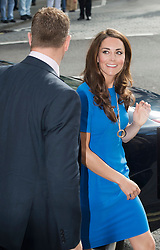 © Licensed to London News Pictures. 19/07/2012. London, UK. Catherine Duchess of Cambridge  arriving at the National Portrait Gallery  on London on July 19, 2012 for a viewing of an exhibition titled BT Road To 2012: Aiming High.  Highlights of the exhibition include portraits of gymnast Beth Tweddle and sprinter Jodie Williams. The exhibition opens today (19/07/2012) and runs to September 23 as Part of the London 2012 Festival. Photo credit : Ben Cawthra/LNP