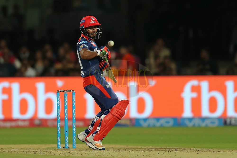 Rishabh Pant of the Delhi Daredevils avoids a rising delivery from Tymal Mills of the Royal Challengers Bangalore during match 5 of the Vivo 2017 Indian Premier League between the Royal Challengers Bangalore and the Delhi Daredevils held at the M.Chinnaswamy Stadium in Bangalore, India on the 8th April 2017<br /> <br /> Photo by Ron Gaunt - IPL - Sportzpics