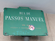 Street sign at Rua de Passos Manuel, Porto, Portugal