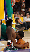 Frustrated Celtic Tony Allen beats his head on the ball after being called for a foul. The Lakers defeated the Boston Celtics in game 6 of the NBA Finals 89-67. Los Angeles, CA 06/15/2010 (John McCoy/Staff Photographer).