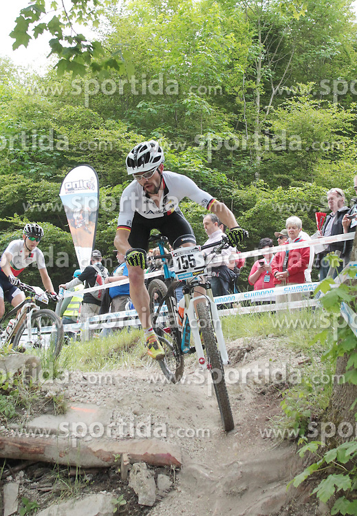 01.06.2014, Bullentaele, Albstadt, GER, UCI Mountain Bike World Cup, Cross Country Herren, im Bild Marco Schaetzing Deutschland // during Mens Cross Country Race of UCI Mountainbike Worldcup at the Bullentaele in Albstadt, Germany on 2014/06/01. EXPA Pictures © 2014, PhotoCredit: EXPA/ Eibner-Pressefoto/ Langer<br /> <br /> *****ATTENTION - OUT of GER*****