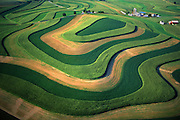 PA landscapes, Farm Contours, Mixed Cropping, Berks County, Pennsylvania Aerial Photograph Pennsylvania