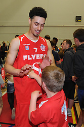 Bristol Flyers' Roy Owen with a young fan - Photo mandatory by-line: Robbie Stephenson/JMP - Mobile: 07966 386802 - 18/04/2015 - SPORT - Basketball - Bristol - SGS Wise Campus - Bristol Flyers v Leeds Force - British Basketball League