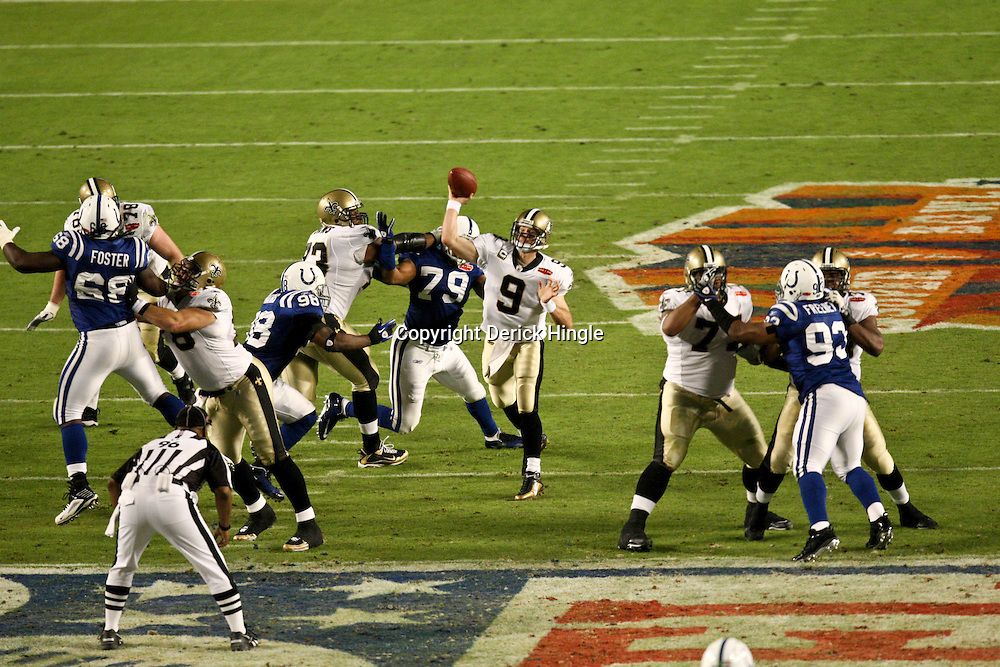 2010 February 07: New Orleans Saints quarterback Drew Brees (9) throws a pass against the Indianapolis Colts during a 31-17 win by the New Orleans Saints over the Indianapolis Colts in Super Bowl XLIV at Sun Life Stadium in Miami, Florida.