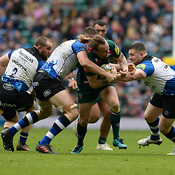 Sam Harrison of Leicester Tigers trying to make a break during the Aviva Premiership match between Bath Rugby and Leicester Tigers at Twickenham Stadium on April 7, 2018 in Twickenham, England. (Photo by Paul Simpson)