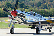 Montgomery, New York - A P-51 Mustang fighter plane from Collings Foundation taxis up the runway at Orange County Airport on Oct. 2, 2010.