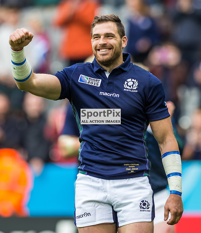 Sean Lamont celebrates after the Rugby World Cup match between Scotland and Samoa (c) ROSS EAGLESHAM | Sportpix.co.uk
