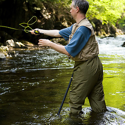 Fly-fishing on the West branch of the Westfield River in Chester, Massachuetts. Keystone Arch Bridge Trail.