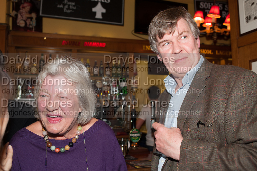 LYNN BARBER; ALISTAIR BLAIR, The Omnivore hosts the third Hatchet  Job of the Year Award. Sponsored by the Fish Society.  The Coach and Horses. Greek st. Soho. London. 11 February 2014.