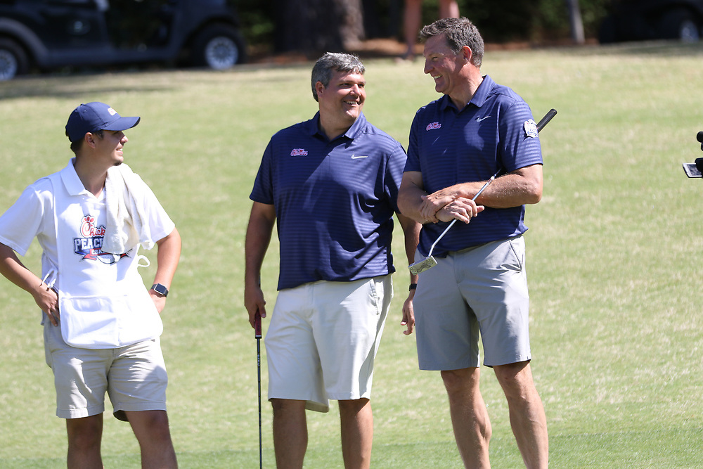 Ole Miss head football coach Matt Luke and Former Ole Miss tight end Wesley Walls during the Chick-fil-A Peach Bowl Challenge at the Ritz Carlton Reynolds, Lake Oconee, on Tuesday, April 30, 2019, in Greensboro, GA. (Chris Collins via Abell Images for Chick-fil-A Peach Bowl Challenge)