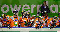 28.10.2012, Eisstadion Liebenau, Graz, AUT, EBEL, Graz 99ers vs HDD Olimpija Ljubljana, 16. Runde, im Bild Mario Richer, (Graz 99ers, Head Coach), Matthias Iberer, (Graz 99ers, #15), Kevin Moderer, (Graz 99ers, #72), Thomas Vanek, (Graz 99ers, #20), Sebastian Stefaniszin, (Graz 99ers, #27)  // during the Erste Bank Icehockey League 16th Round match betweeen Graz 99ers and HDD Olimpija Ljubljana at the Icehockey Stadium Liebenau, Graz, Austria on 2012/10/28. EXPA Pictures © 2012, PhotoCredit: EXPA/ M. Kuhnke