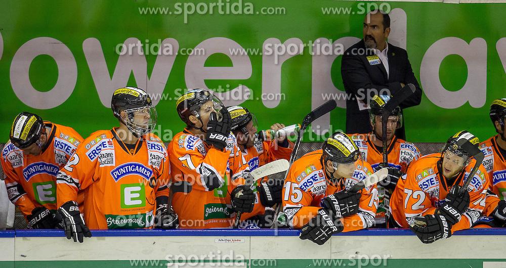 28.10.2012, Eisstadion Liebenau, Graz, AUT, EBEL, Graz 99ers vs HDD Olimpija Ljubljana, 16. Runde, im Bild Mario Richer, (Graz 99ers, Head Coach), Matthias Iberer, (Graz 99ers, #15), Kevin Moderer, (Graz 99ers, #72), Thomas Vanek, (Graz 99ers, #20), Sebastian Stefaniszin, (Graz 99ers, #27)  // during the Erste Bank Icehockey League 16th Round match betweeen Graz 99ers and HDD Olimpija Ljubljana at the Icehockey Stadium Liebenau, Graz, Austria on 2012/10/28. EXPA Pictures © 2012, PhotoCredit: EXPA/ M. Kuhnke