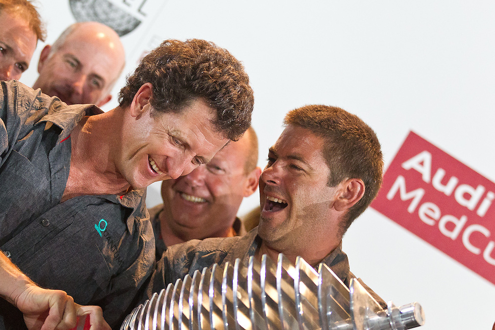 SPAIN, Barcelona. 17th September 2011. AUDI MedCup, Conde de Godo Barcelona Trophy. The crew of TP52, Quantum Racing, winners of the 2011 AUDI MedCup.