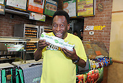 Soccer legend Pele is announced as SUBWAY restaurants newest global brand ambassador, Thursday, July 31, 2013, in New York. (Photo by Diane Bondareff/Invision for SUBWAY restaurants/AP Images)
