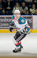 KELOWNA, CANADA, JANUARY 4: Jessey Astles #27 of the Kelowna Rockets skates on the ice as the Spokane Chiefs visit the Kelowna Rockets on January 4, 2012 at Prospera Place in Kelowna, British Columbia, Canada (Photo by Marissa Baecker/Getty Images) *** Local Caption ***