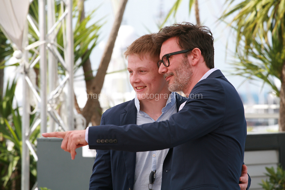 Zukhra Duishvili  and director Michel Hazanavicius at the photo call for the film The Search at the 67th Cannes Film Festival, Wednesday 21st  May 2014, Cannes, France.