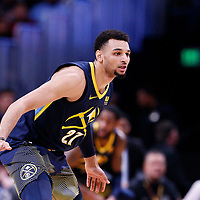 05 April 2018: Denver Nuggets guard Jamal Murray (27) is seen on defense during the Denver Nuggets 100-96 victory over the Minnesota Timberwolves, at the Pepsi Center, Denver, Colorado, USA.