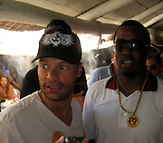 **EXCLUSIVE**.Ryan Seacrest and P. Diddy at Club 55 Restaurant in St. Tropez, France..Thursday, July 26, 2007.Photo By Celebrityvibe.com.To license this image please call (212) 410 5354; or.Email: celebrityvibe@gmail.com ;.