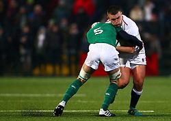Olly Adkins of England U20 in action against Niall Murray of Ireland U20 - Mandatory by-line: Ken Sutton/JMP - 01/02/2019 - RUGBY - Irish Independent Park - Cork, Cork - Ireland U20 v England U20 -