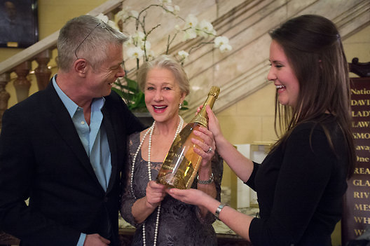 STEPHEN DALDRY; HELEN MIRREN; CHAMPAGNE, The Audience Press night, Gielgud Theatre and after-party at the Horseguard Hotel. London. 5 March 2013