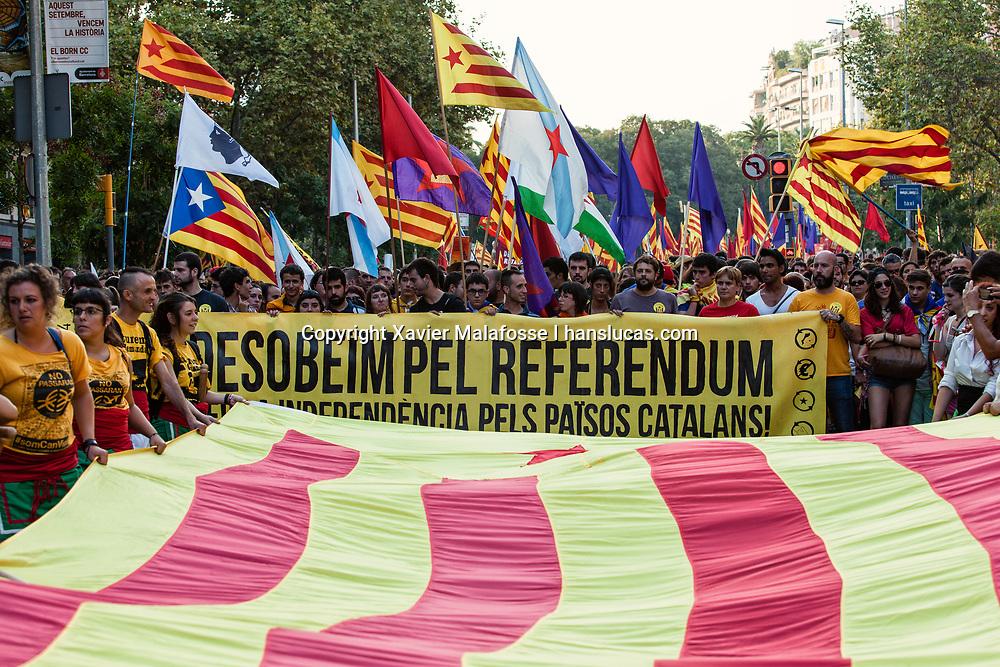 Le 11 septembre 2014, plus de deux millions de personnes manifestent afin de soutenir le referendum sur l'independance de la Catalogne, le 9 novembre, considere comme illegal par Madrid. Les manifestants font un V symbolique de deux branches de 4 kilometres pour la celebration de la Diada, fete nationale catalane. Au bout du V, une jeune femme, qui sera majeure le 9 novembre 2014, depose symboliquement un bulletin dans une urne.