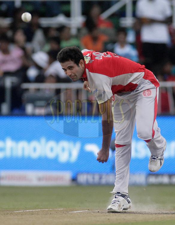 DURBAN, SOUTH AFRICA - 1 May, 2009. Irfan Pathan bowls during the IPL Season 2 match between Kings X1 Punjab and the Royal Challengers Bangalore held at Sahara Stadium Kingsmead, Durban, South Africa...