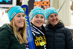 Meta Hrovat of Slovenia with mother Darja Hrovat (right) and sister Ursa Hrovat (left) after the 2nd Run during the Ladies' GiantSlalom at 56th Golden Fox event at Audi FIS Ski World Cup 2019/20, on February 15, 2020 in Podkoren, Kranjska Gora, Slovenia. Photo by Matic Ritonja / Sportida