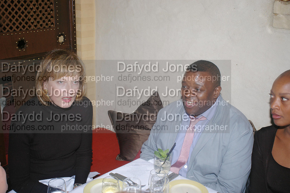 Julia Peyton-Jones and  Isaac Julien. Andreas Slominski private view and dinner after wards at Pacha. Gloucester Place. London. 24 April 2005. ONE TIME USE ONLY - DO NOT ARCHIVE  © Copyright Photograph by Dafydd Jones 66 Stockwell Park Rd. London SW9 0DA Tel 020 7733 0108 www.dafjones.com