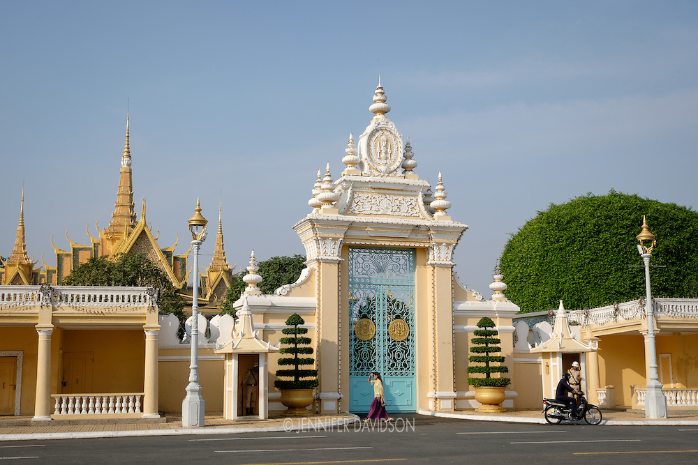 The front gate of the Royal Palace in Phnom Penh, Cambodia.
