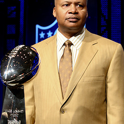 Feb 05, 2010;  Fort Lauderdale, FL, USA; Indianapolis Colts head coach Jim Caldwell poses with the Vince Lombardi Trophy following a press conference at the Super Bowl XLIV media center at the Fort Lauderdale/Broward County Convention Center. Mandatory Credit: Derick E. Hingle