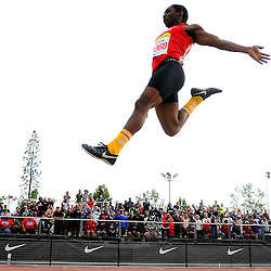 Serra's Adoree Jackson wins the long jump 25-5 leap during the Arcadia Invitational track and field meet at Arcadia High School in Arcadia, Calif., on Saturday, April 12, 2014.
