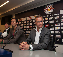 25.06.2012, Red Bull Arena, Salzburg, AUT, 1. FBL, Red Bull Salzburg Pressekonferenz, im Bild Roger Schmidt, Trainer Red Bull Salzburg und Ralf Rangnick, Sportdirektor Red Bulls - Salzburg und Leipzig // during Pressconference of Austrian Football Team Red Bull Salzburg at the Red Bull Arena, Salzburg, Austria on 2012/06/25. EXPA Pictures © 2012, PhotoCredit: EXPA/ Juergen Feichter