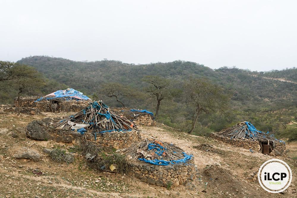 Bedouin camp on hillside, Hawf Protected Area, Yemen
