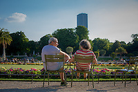 Paris, France - July 16, 2014: A chat in the Jardin du Luxembourg on sunny summer day in the  6th arrondissement on the Left Bank of Paris. CREDIT: Chris Carmichael for The New York Times