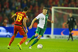 BRUSSELS, BELGIUM - Tuesday, October 15, 2013: Wales' James Wilson in action against Belgium during the 2014 FIFA World Cup Brazil Qualifying Group A match at the Koning Boudewijnstadion. (Pic by David Rawcliffe/Propaganda)