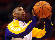 May 23, 2010; Phoenix, AZ, USA; Los Angeles Lakers guard Kobe Bryant (24) warms up prior to game three of the western conference finals in the 2010 NBA Playoffs at US Airways Center.  The Suns defeated the Lakers 118-109.   Mandatory Credit: Jennifer Stewart-US PRESSWIRE