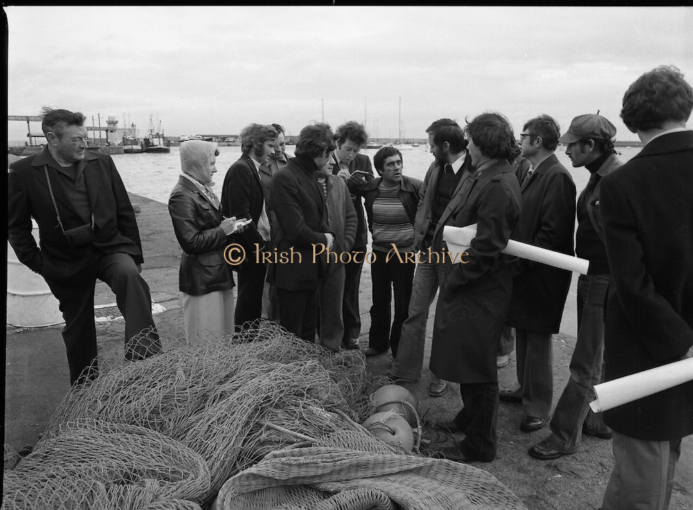 French Fishermen At Howth.   (M27).<br /> 16.10.1978.<br /> 10.16.1978.<br /> 16th October 1978.<br /> B.I.M.(Bord Iascaigh Mhara),The Irish Fisheries Board,invited a group of French fishermen to visit the facilities at Howth, Dublin. The fishermen took in a tour of IC Trawl Ltd and the West Pier on their visit.