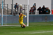 Brighton Womens goalkeeper (1) stretches for the penalty and goal from Manchester City Women's forward Nikita Parris (17) during the FA Women's Super League match between Manchester City Women and Brighton and Hove Albion Women at the Sport City Academy Stadium, Manchester, United Kingdom on 27 January 2019.