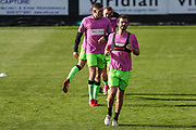 Forest Green Rovers Gavin Gunning(16) leads the warm up during the EFL Sky Bet League 2 match between Forest Green Rovers and Cheltenham Town at the New Lawn, Forest Green, United Kingdom on 20 October 2018.