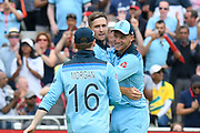 Wicket - Chris Woakes of England celebrates taking the wicket of Mitchell Starc of Australia during the ICC Cricket World Cup 2019 semi final match between Australia and England at Edgbaston, Birmingham, United Kingdom on 11 July 2019.