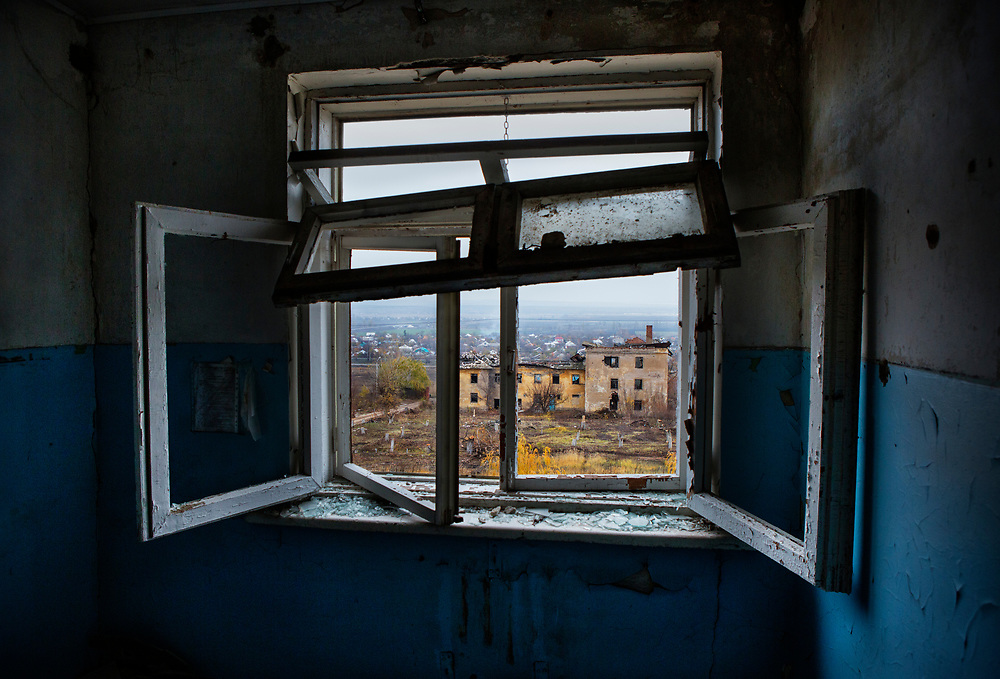 View from the destroyed psychiatric hospital in Semenivka, Donetsk Oblast, eastern Ukraine.<br />