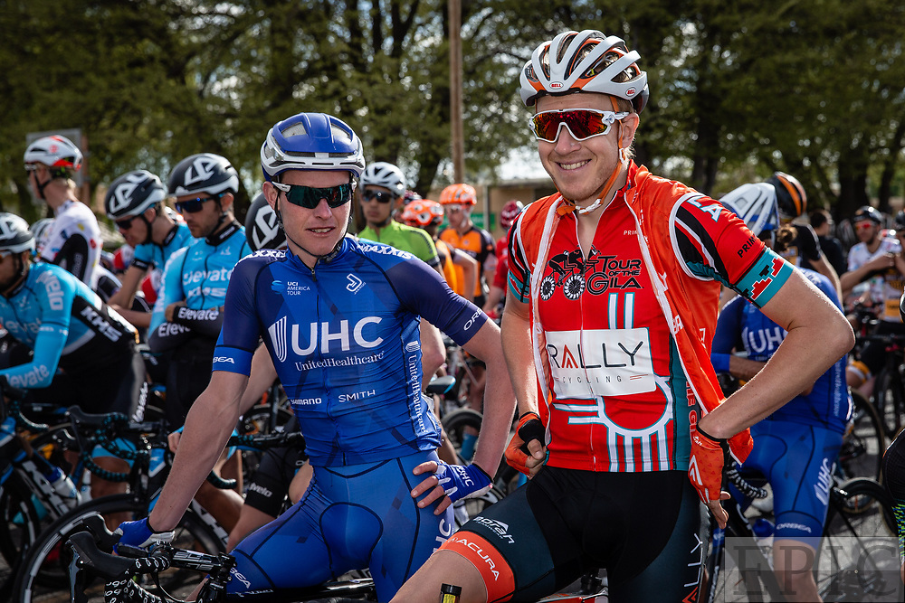 SILVERY CITY, NM - APRIL 22: Robert Britton (Rally Cycling) and Gavin Mannion (UnitedHealthcare Pro Cycling) before the start of stage 5 of the Tour of The Gila on April 22, 2018 in Silver City, New Mexico. (Photo by Jonathan Devich/Epicimages.us)