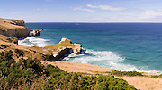 View of Tunnel Beach, south of Dunedin, Otago, New Zealand