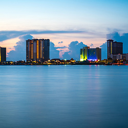 Pensacola Beach Florida skyline at sunrise photo. Pensacola Beach is on Santa Rosa Island along the Emerald Coast in the Southeastern United States. Photo is high resolution. Copyright ⓒ 2018 Paul Velgos with All Rights Reserved.