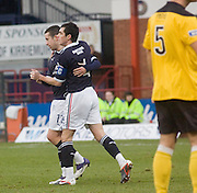 Ryan Conroy is congratulated by Stephen O'Donnell after scoring Dundee's first goal - Dundee v Livingston, IRN BRU Scottish Football League, First Division at Dens Park - ..© David Young - .5 Foundry Place - .Monifieth - .Angus - .DD5 4BB - .Tel: 07765 252616 - .email: davidyoungphoto@gmail.com.web: www.davidyoungphoto.co.uk