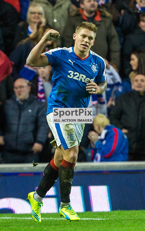 Martyn Waghorn celebrates his goal during the match between Rangers and Hibernian (c) ROSS EAGLESHAM | Sportpix.co.uk